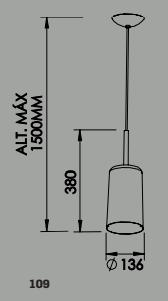Pendente Bilboquê CFL E27 – Bivolt 127V / 220V – 136 x 136 x 380mm
