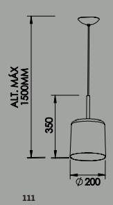 PENDENTE BILBOQUE M 1 CFL 25W DIAM. 200X350MM