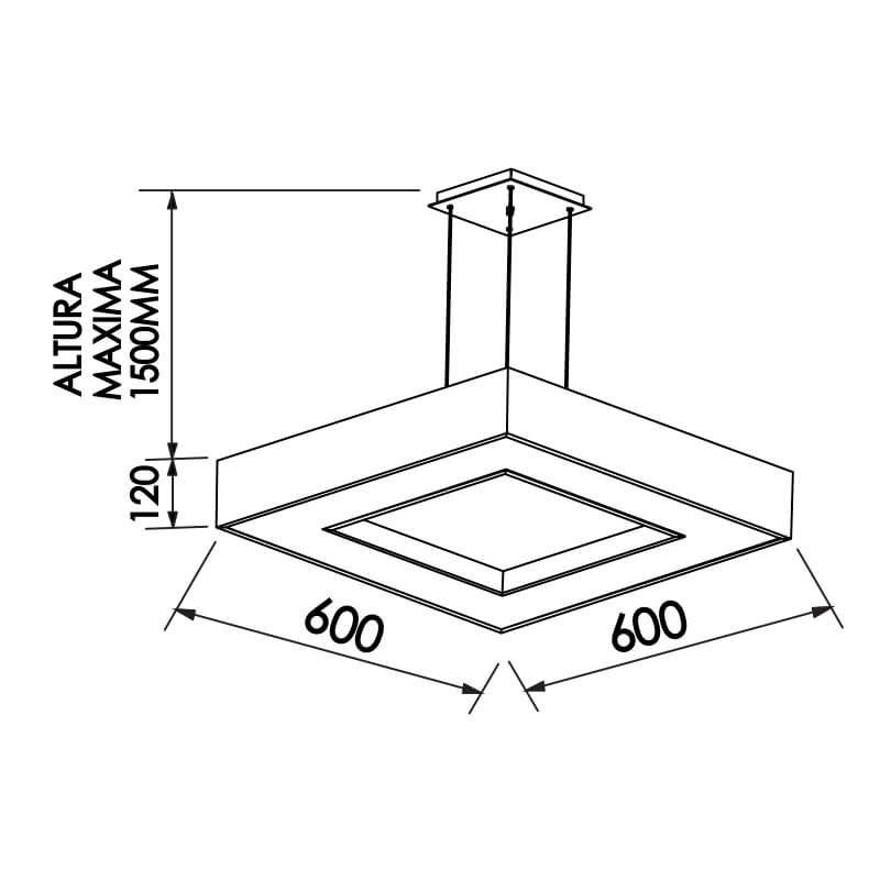 PENDENTE CHESS CFL E27 – BIVOLT 127V / 220V – 600 X 600 X 120MM