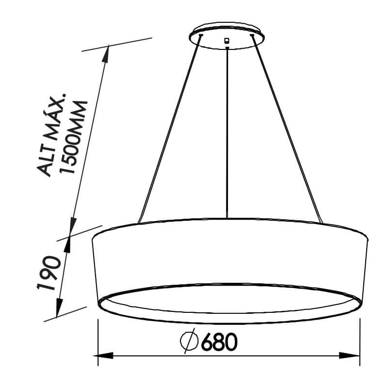 PENDENTE CIRCLE CFL E27 – BIVOLT 127V / 220V – 680 X 680 X 190MM