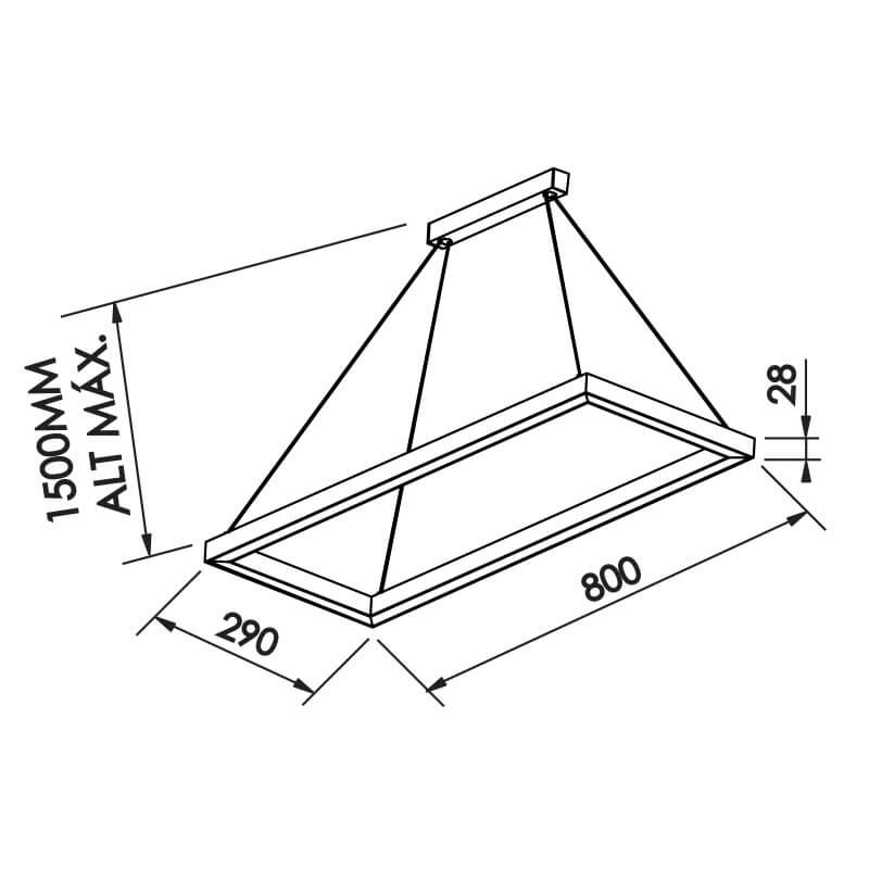 PENDENTE F LED 23,1W – Bivolt 127V / 220V – 800 x 290 x 28mm