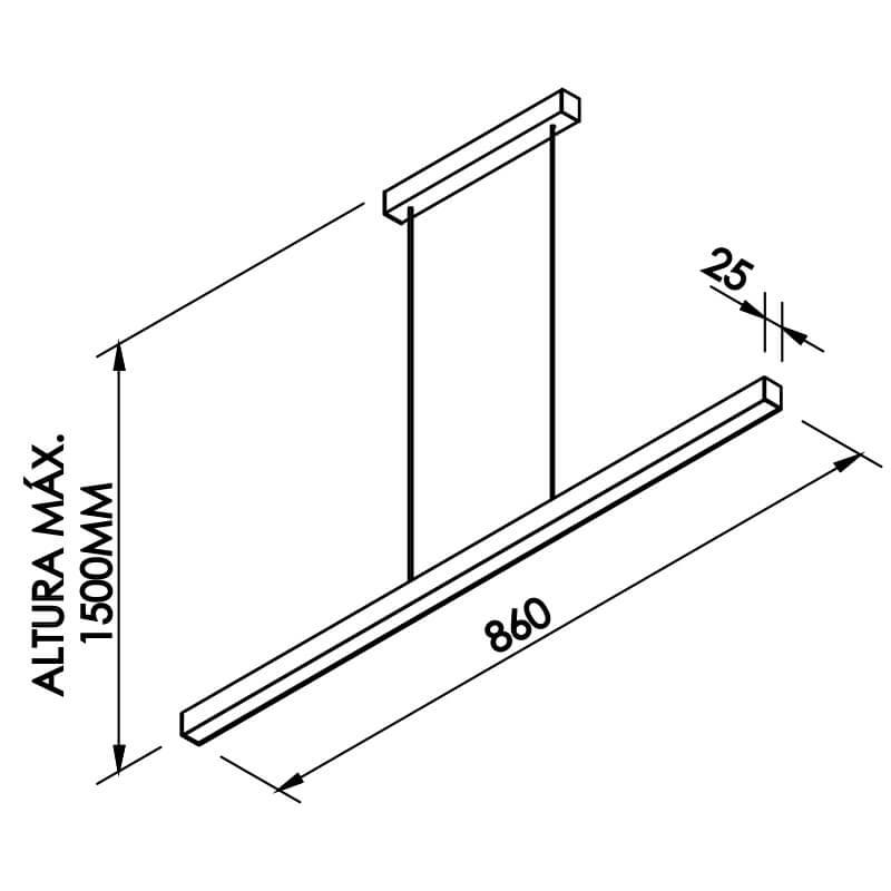 PENDENTE F  LED 24W – BIVOLT 127V / 220V – 860 X 25 X 28MM