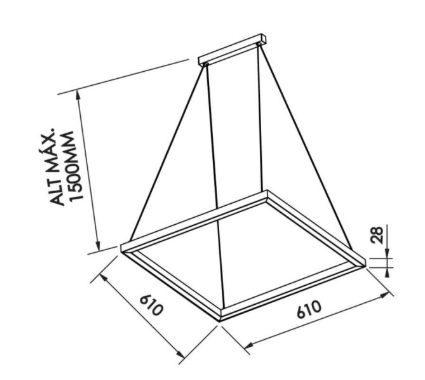 PENDENTE F LED 25,2W 127/220V - 610 X 610 X 28MM