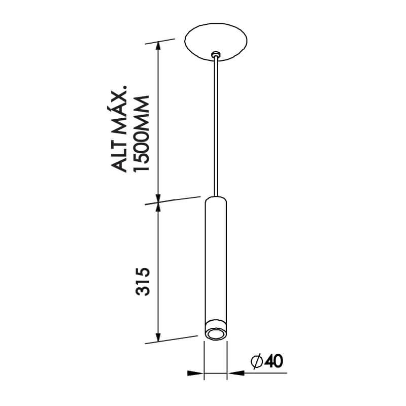 PENDENTE L II C/ADAPTADOR 1 MINI DICROICA DIAM. 40X315MM