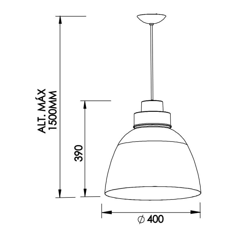 PENDENTE NI C/ ADAPTADOR  PARA TRILHO   1 CFL 25W DIAM. 400X390MM
