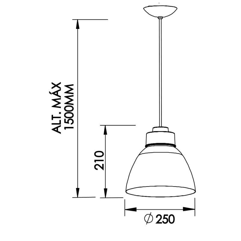 PENDENTE NI MINI C/ ADAPTADOR 1 CFL 25W DIAM. 250X210MM