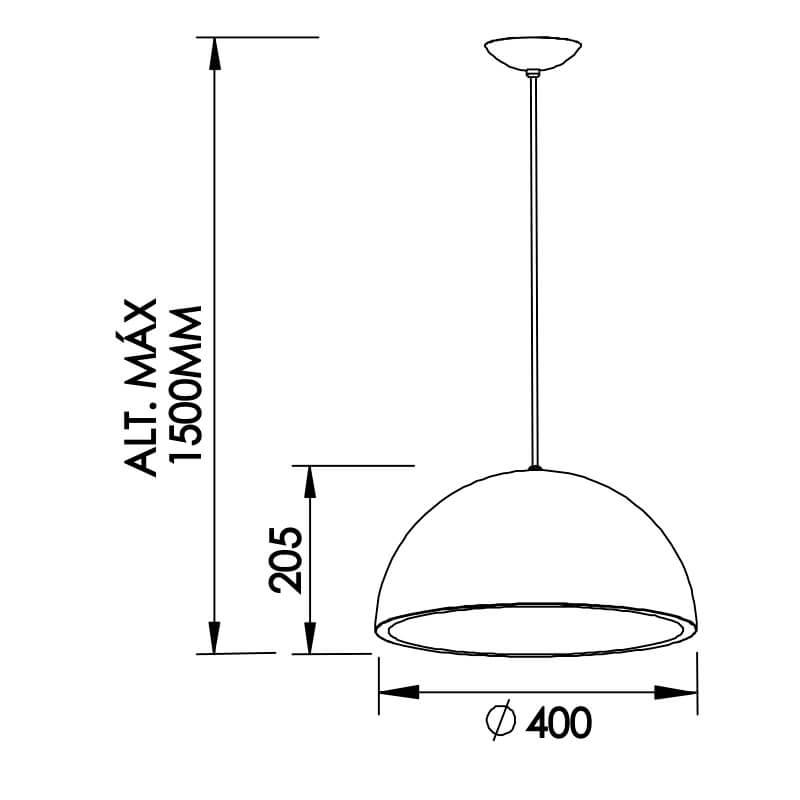 PENDENTE NR 1 CFL 25W DIAM. 400X205MM