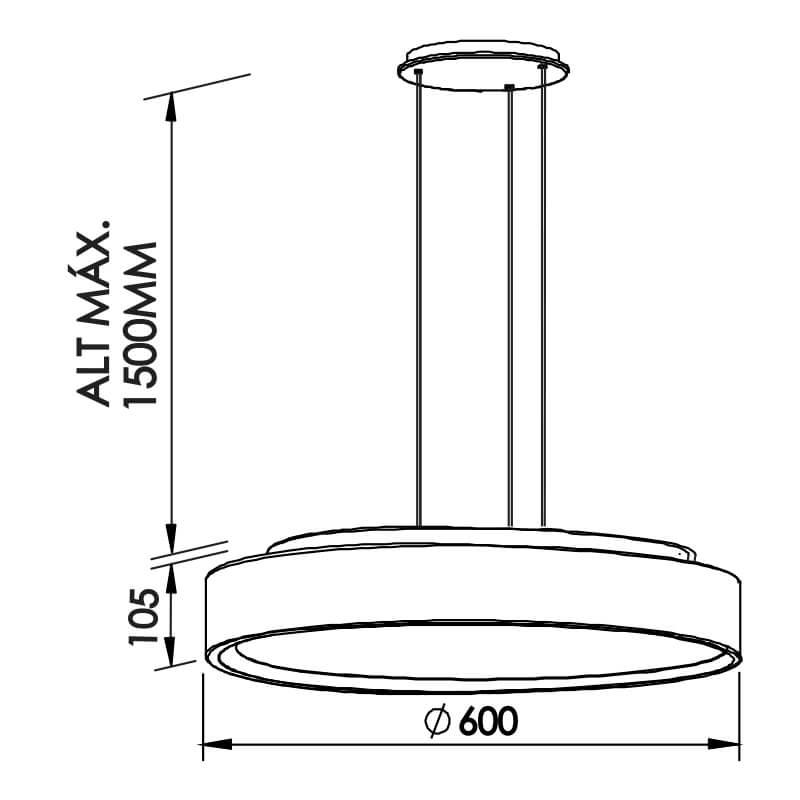 PENDENTE R 6 CFL 25W DIAM. 600X105MM