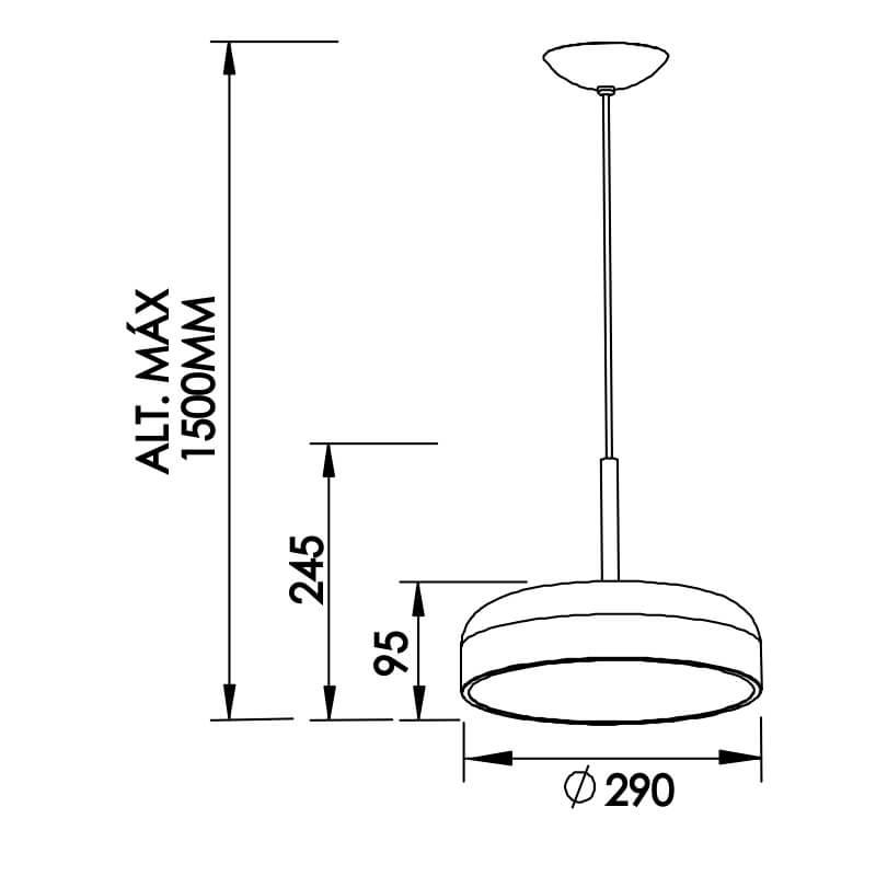 PENDENTE V 2 CFL 25W DIAM. 290X245MM