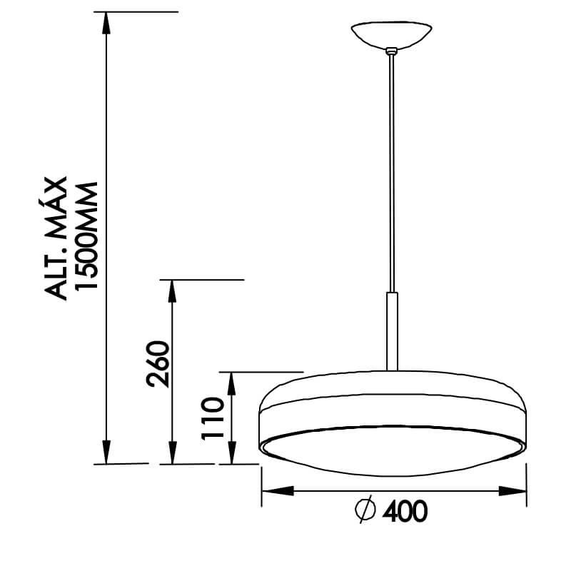 PENDENTE V 3 CFL 25W DIAM. 400X260MM