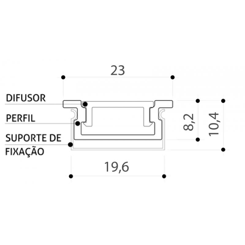 PERFIL EMBUTIDO ILU-ME13  ( POR METRO)