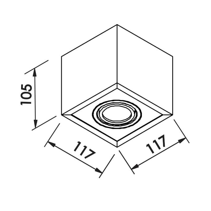PLAFON B 1 PAR16 50W 117X117X105MM