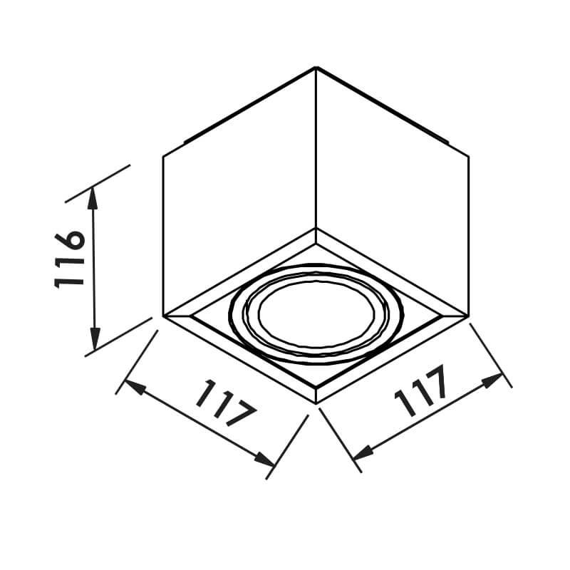 PLAFON B 1 PAR20 50W 117X117X105MM