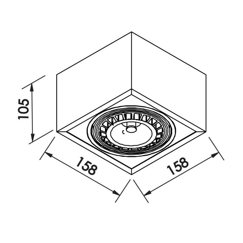 PLAFON B 1XAR111 LED 158X158X105MM
