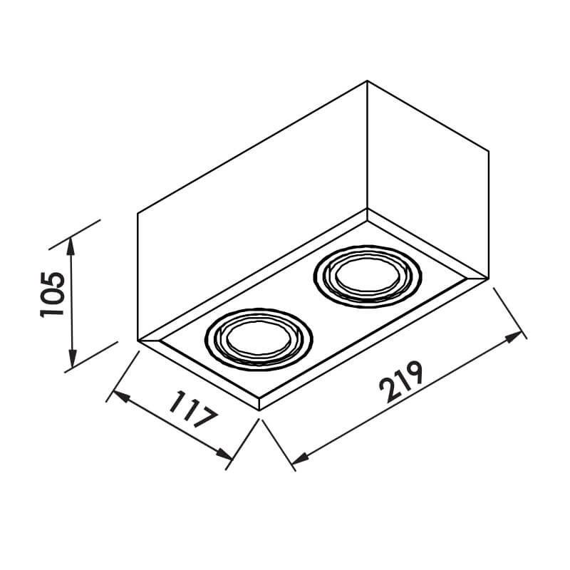 PLAFON B 2 AR70 LED 117X219X105MM