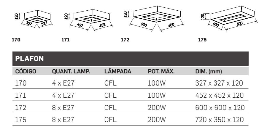 PLAFON CHESS CFL E27 – BIVOLT 127V / 220V – 327 X 327 X 120MM