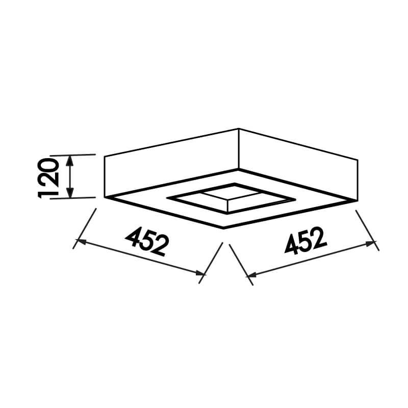 PLAFON CHESS CFL E27 – BIVOLT 127V / 220V – 452 X 452 X 120MM