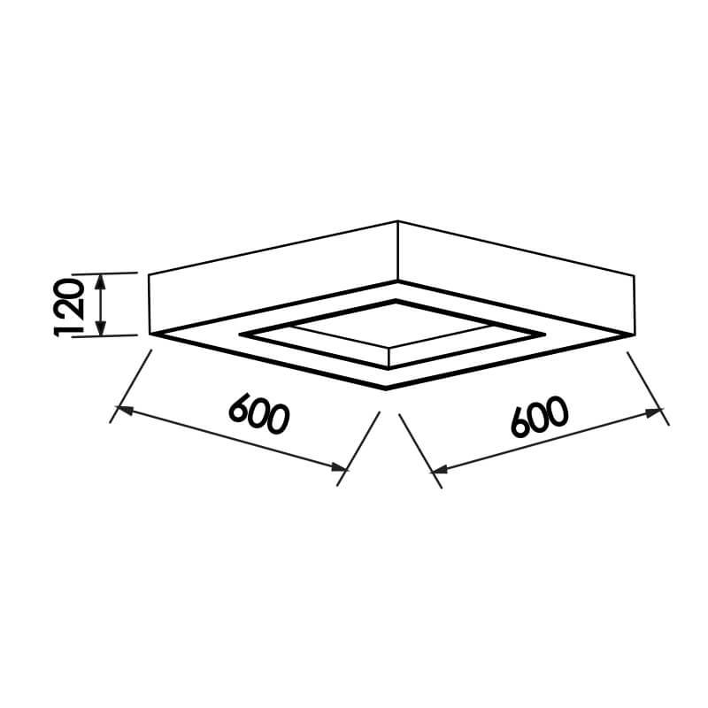 PLAFON CHESS CFL E27 – BIVOLT 127V / 220V – 600 X 600 X 120MM