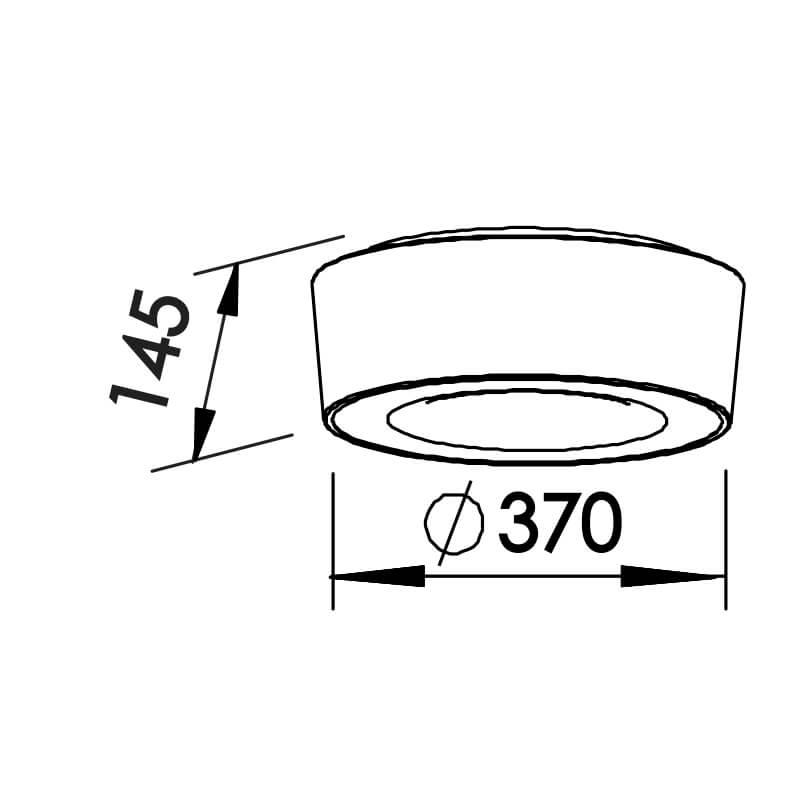 PLAFON S 4 CFL 23W DIAM. 370X145MM