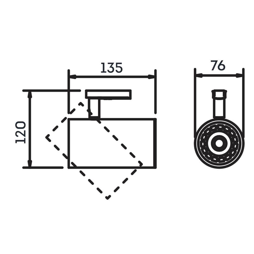 SPOT LISSE COM ADAPTADOR 1 AR70 LED 76X135X120MM