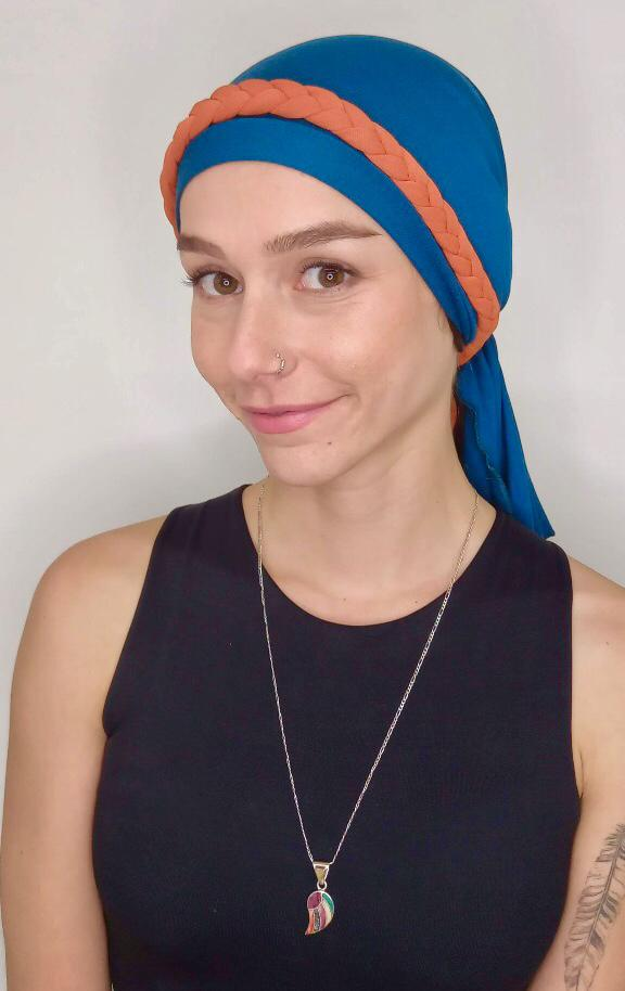 Turbante Eva + Trança - Bicolor