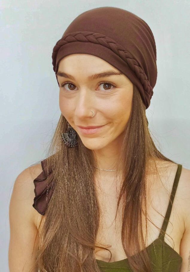 Turbante Eva + Trança - Marrom