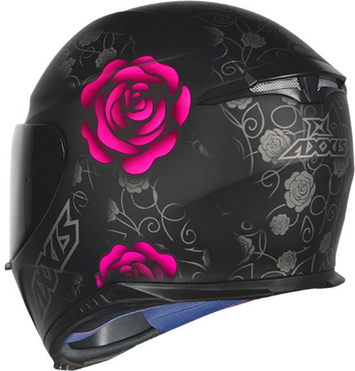 CAPACETE AXXIS EAGLE FLOWERS PRETO/ROSA FOSCO