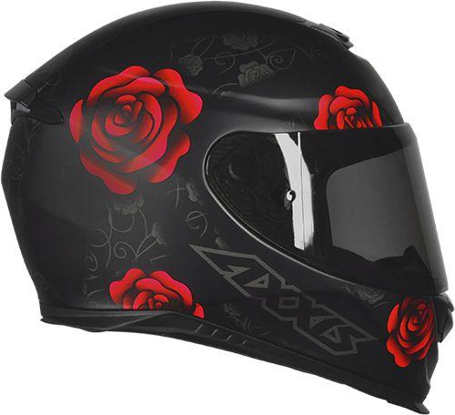 CAPACETE AXXIS EAGLE FLOWERS PRETO/VERMELHO FOSCO