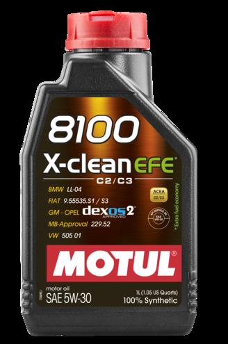 ÓLEO MOTUL 8100 X-CLEAN EFE 5W30 100% SINTÉTICO 1L