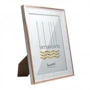 Kit 2 Porta Retrato Detalhe Carrara Rose Gold e Prata 15x20
