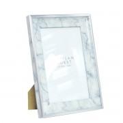 Kit 2 Porta Retrato Detalhe Carrara Rosegold e Prata 10x15