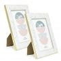 2 Porta Retrato Violeta Detalhe Tipo Mármore Branco 10x15