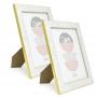2 Porta Retrato Violeta Detalhe Tipo Mármore Branco 15x20cm