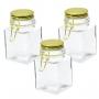 3 Potes de Vidro Hermético Quadrado Com Tampa Dourado 350ml