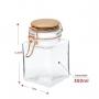 3 Potes de Vidro Hermético Quadrado Com Tampa Rose 350ml