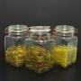 3 Potes de Vidro Hermético Quadrado com Trava Cobre 1,4 Litr