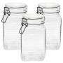 3 Potes de Vidro Hermético Quadrado com Trava Preto 1,4 Litr