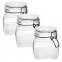 3 Potes de Vidro Hermético Quadrado com Trava Preto 800ml