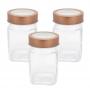 3 Potes de Vidro Quadrado Com Tampa Transparente Cobre 300ml