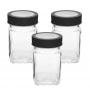 3 Potes de Vidro Quadrado Com Tampa Transparente Preto 300ml