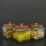 3 Potes de Vidro Quadrado Tampa Rosqueável Cobre 1,2 litro