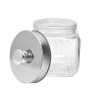 3 Potes de Vidro Quadrado Tampa Rosqueável Prata 1,2 litro