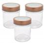 3 Potes de Vidro Redondo Com Tampa Transparente Cobre 350ml