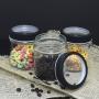 3 Potes de Vidro Redondo Com Tampa Transparente Preto 350ml