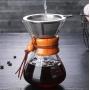 Cafeteira Jarra de Vidro com Coador Inox Detalhes em Madeira