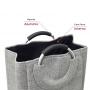 Cesto de Roupa Cinza Tipo Linho Laundry Alça de Alumínio
