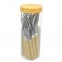 Faqueiro de Aço Inox Cabo Plástico Bambu 16 Peças