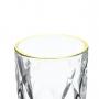Jogo Jarra e Copo Diamond com borda dourada 7 Peças