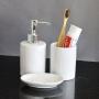 Kit Banheiro Lavabo Branco com Dispenser 3 Peças 4484 Prata