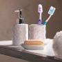 Kit Banheiro Lavabo Branco com Dispenser 3 Peças 4486 Prata